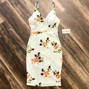BNWT J for Justify Midi Floral Bodycon Dress